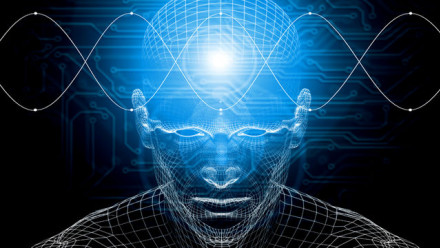 Computer generated grid man with a light where the brain is and DNA strands going horizonally across the top of the picture