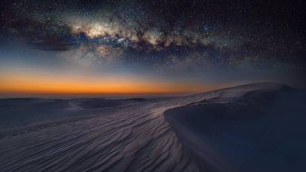 Milky Way galaxy photographed above Australian coastal sand dunes
