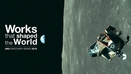 Works that Shaped The World hero image, lunar module over moon with earth rising in background
