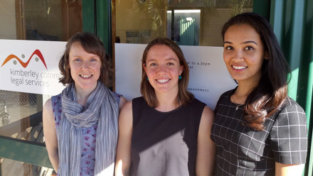 (L to R) Alexandra Ross, Erica Weatherley and Lauren Reed at the Kimberley Community Legal Service