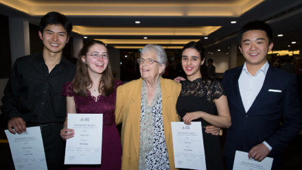 Christine Roach (centre) with the 2019 Whitworth Roach Competition winners. L - R:  Jimmy Park (Second Place), Ruth Giddy (Commendation Award), Roya Safaei (Third Place) and Chenxiao Chen (First Place)