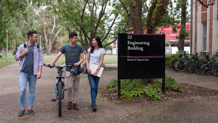 ANU students walking past the Engineering Building
