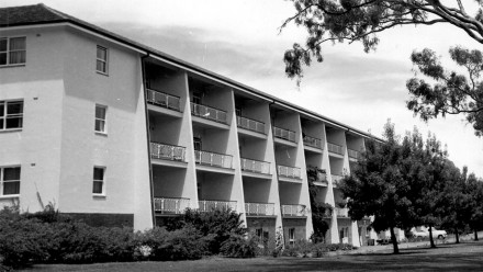 Black and white image of University House building, from ANU Archives