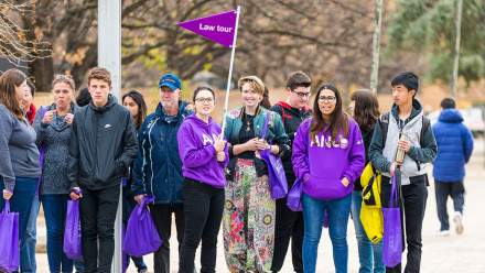 Prospective ANU law students taking a tour