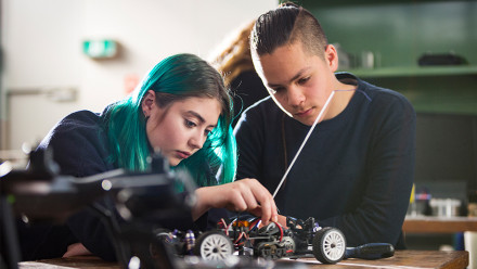 Students working on an engineering project at ANU