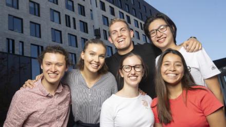 Group of ANU students smiling at the camera