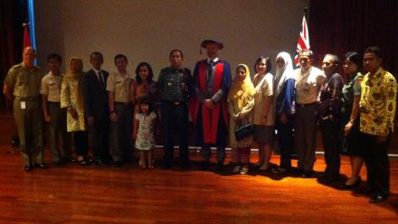 Dr Garth Pratten, centre, and friends and family of Arief Suryansyah.