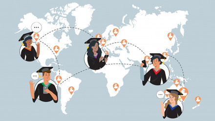 Alumni connecting with each other on the world map
