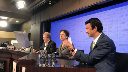 (L to R): Professor Warwick McKibbin, Associate Professor Jane Golley and Professor Michael Wesley at the National Press Club launch of a collection of essays relating to 100 days of Donald Trump.