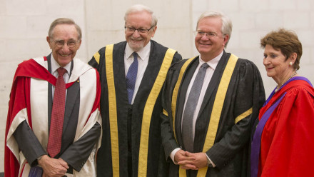 The Hon Emeritus Professor Peter Baume AC, ANU Chancellor Professor The Hon Gareth Evans, Vice-Chancellor Professor Brian Schmidt and The Hon Susan Ryan AO. Photos by Lannon Harley, ANU.