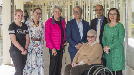 Launch of Health in you Hands Grand Challenge Project at University House, ANU. From left to right: Ellen Brown, Adjunct Professor Hanna Suominen, Vanessa Fanning, Professor Matt Cook, Katrina Chisholm and Dr Jane Desborough