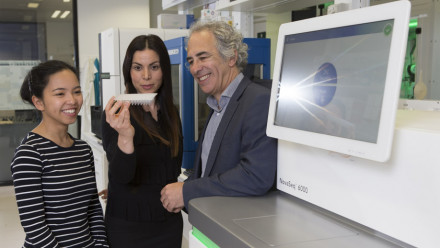 PhD student Chelisa Cardinez, Postdoctoral Fellow Bahar Miraghazadeh and Professor Matthew Cook from the ANU College of Health and Medicine. The team have found a new genetic disease using genome sequencing.