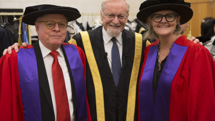 (L to R) Sir Ross Cranston, ANU Chancellor Professor The Hon Gareth Evans, and Sam Mostyn.