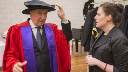 Dennis Richardson before receiving his honorary degree, the Doctor of Laws.