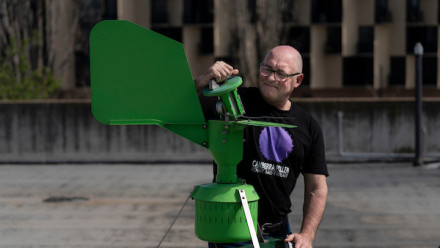 Professor Simon Haberle testing air quality in Canberra.