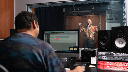 Studio leader and Torres Strait Islander musician Will Kepa (left) and music legend Uncle Joe Geia in the studio, warming up for the impending launch. Credit: Jamie Kidston, ANU