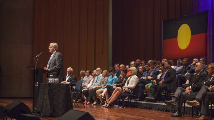 Professor Schmidt speaking at the 2018 ANU State of the University Address. Photo by Lannon Harley, ANU.