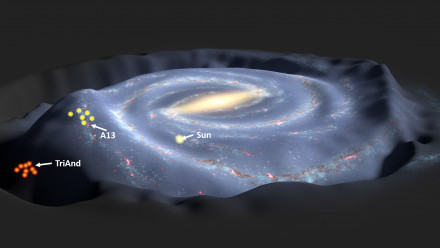 3D artist's impression of the Milky Way, A13 and Triangulum-Andromeda. Credit: T.Mueller/NASA/JPL-Caltech