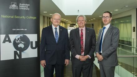 (l to r) James R Clapper, ANU VC Professor Brian Schmidt and NSC Head Professor Rory Medcalf. Photo by Stuart Hay.