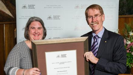 Associate Professor Nicole Haley, receiving the Vice-Chancellor's  individual award for Public Policy and Outreach. Image: Stuart Hay.