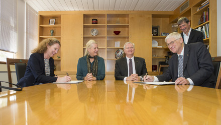 Director of the ANU Advanced Instrumentation and Technology Centre Prof Anna Moore, DLR Board Prof Pascale Ehrenfreund, ANU Vice-Chancellor Prof Brian Schmidt and Prof Hansjörg Dittus, Board Member for Germany's Space Research and Technology