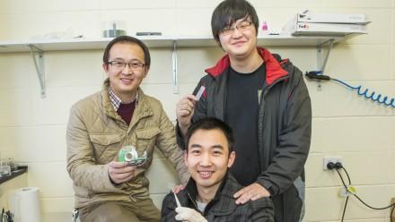 Dr Yuerui Lu (left), Jiajie Pei (front) and Renjing Xu. Image Stuart Hay, ANU