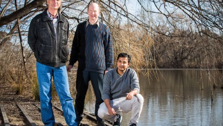 Professor Nail Akhmediev (left) Dr Adrian Ankiewicz (centre) and Amdad Chowdury. Image: Stuart Hay, ANU