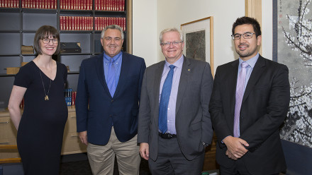 Dr Amy King, Ambassador Joe Hockey, Vice-Chancellor Professor Brian Schmidt, and Dr Shiro Armstrong.