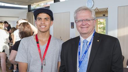 High school student Izayah Davies meets Nobel Laureate and ANU Vice-Chancellor Professor Brian Schmidt. Image credit: Stuart Hay, ANU