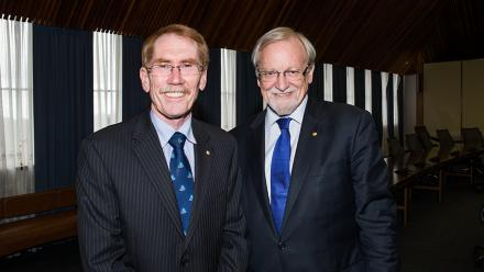 ANU Vice-Chancellor Professor Ian Young with Chancellor Professor Gareth Evans. Photo by Stuart Hay.