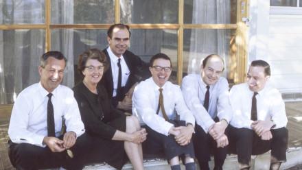 Some of ANU Design Unit team in 1968. L to R: Scorgie Anderson (administrator), Marie Penhaligon (secretary), Jack Low (design draftsman), Derek Wrigley (Architect/Designer), Gerald Easden (Assistant Designer), Hans Pillig (Designer). Image:Derek Wrigley.