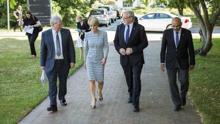 Vice-Chancellor Professor Brian Schmidt, Foreign Affairs Minister Julie Bishop, Chancellor Gareth Evans and Professor Amin Saikal. Photo: Stuart Hay, ANU.