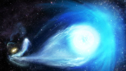 An artist's impression of the Milky Way's big black hole flinging the star from the galaxy's centre. Credit: James Josephides (Swinburne Astronomy Productions)