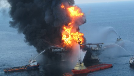 Deepwater Horizon Offshore Drilling Platform on Fire, 2010. Photo by Ideum - ideas + media on flickr.