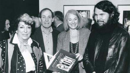 (L to R) Joy Warren (Director of the Solander Gallery), artist Andrew Sibley, Betty Churcher and Emeritus Professor Sasha Grishin. 1993. Image: ANU Archives.
