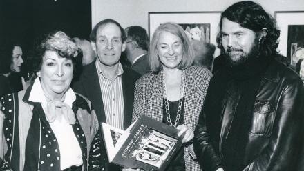 (L to R) Joy Warren (Director of the Solander Gallery), artist Andrew Sibley, Betty Churcher and Emeritus Professor Sasha Grishin. 1993. Image: ANU Archives