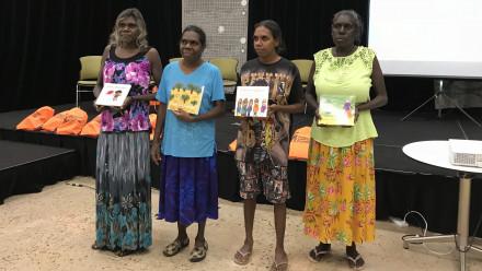 Binjari women authors from L-R: Maureen Hodgson, Karen Manbulloo, Stella Raymond and Marilyn Frith. Image supplied.