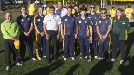 Cricket legends Glenn McGrath and Mike Hussey meet members of the ANU community.