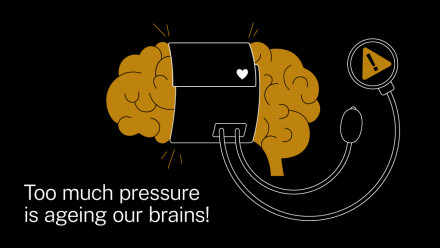 An illustration of a brain with a heart rate monitor wrapped around it