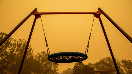 An empty playground in the Canberra haze. Photo: Lannon Harley.
