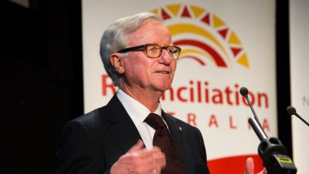 Former Deputy Liberal Leader Fred Chaney delivering the annual ANU Reconciliation Lecture