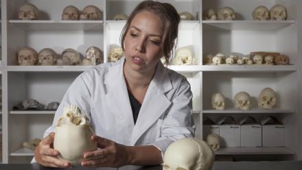 Clare McFadden holding a skull
