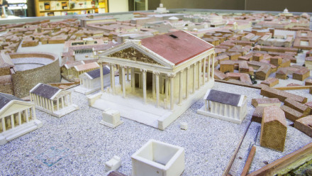 A close-up of the Rome Model at the ANU Classics Museum.