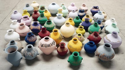 Ai Weiwei. Coloured Vases, 2006. Neolithic vases (5000-3000 BC) and industrial paint dimensions variable. © Ai Weiwei