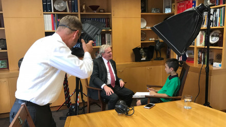 Professor Schmidt being interviewed by Year 4 Turner School student Ishan Biddle for the childrens newspaper the Crinkling News. Photo by Simon Jenkins.