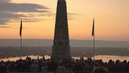 A dawn service on Anzac Day.