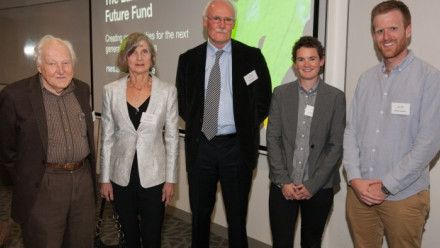 Picture of Donors Mervyn Paterson and Sue Kesson with Director, Ian Jackson and Scholarship recipients Research Fellow Sophie Lewis and PhD candidate Mike Jollands. Photo: Daniel Cummins