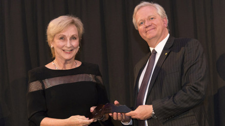 Professor Schmidt with 2017 ANU Alumni of the Year Elizabeth Bryan AM. Photo by Ricky Lloyd.