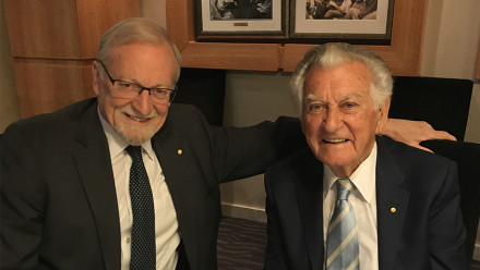 ANU Chancellor Gareth Evans and former PM Bob Hawke. Image: ANU.