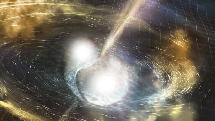 An artist's impression of the two neutron stars colliding. Image: LSC / Sonoma State University / Aurore Simonnet